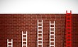 set of ladders and brick wall. illustration design