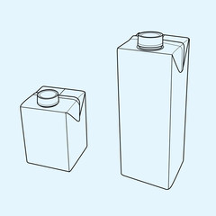 Milk carton with screw cap outline vector