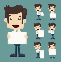 Set of businessman holding blank notes characters poses