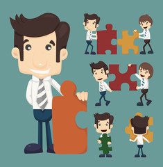 Set of businessman holding up jigsaw puzzle pieces as a solution
