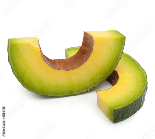 Avocado slice isolated on a white background.