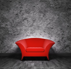 Interior with red armchair