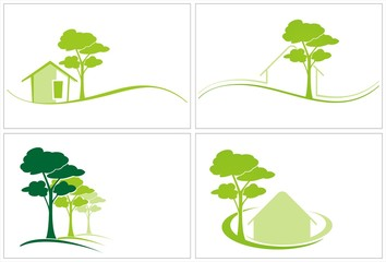 Home , tree, green icons , business logo design