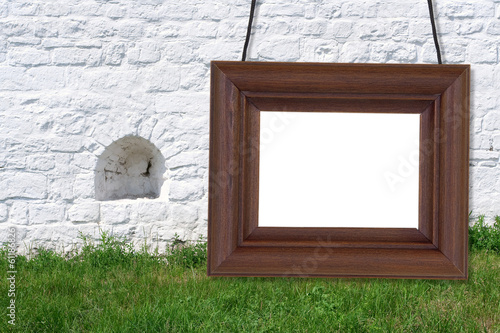 Wooden frame on the background of the ramparts