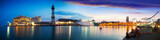 panorama of Port Vell in sunset. Barcelona