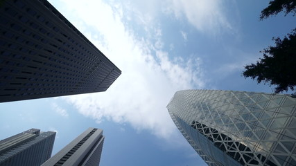 高層ビル街 空を見上げる。