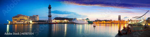 Foto op Plexiglas Poort panorama of Port Vell in sunset. Barcelona
