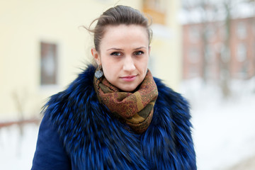 woman at wintry  street