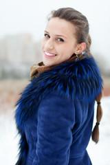 winter portrait of woman in coat