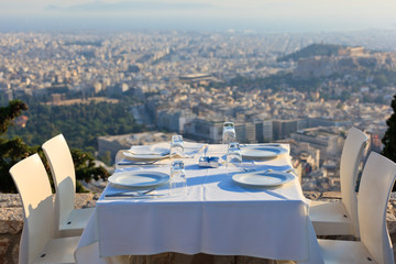 restaurant tables with panoramic view