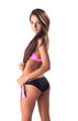 Portrait of beautiful brunette posing in swimsuit