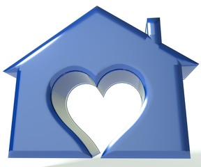 Blue House Heart 3D image