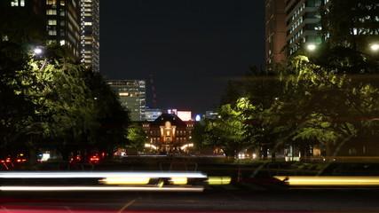 東京駅と丸ノ内高層ビル街の通り インターバル撮影