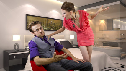 woman nagging and overwhelming her boyfriend