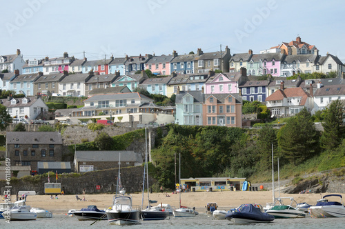 Terraced cottages above harbour town of New Quay