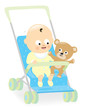 Baby boy in stroller with teddy bear