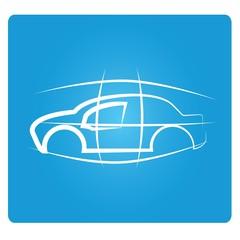 sketched car design, draft design