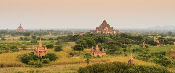 Aerial view of ancient temples in Bagan, Myanmar