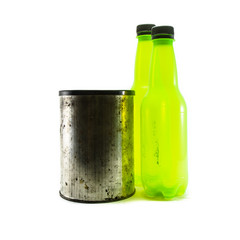 bottle and small canister