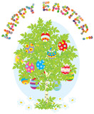 Easter card with a green tree and decorated eggs