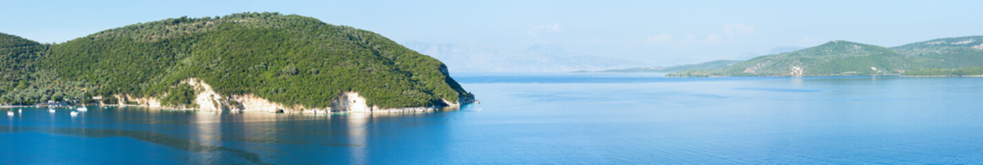 Lefkada coast summer panorama (Greece)