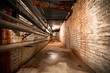 a factory building basement corridor - 61190481