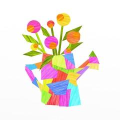innaffiatoio con fiori