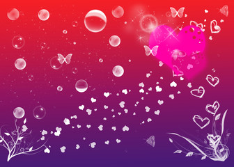 Love background with hearts, butterflies, flowers and bubbles