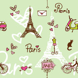 Paris seamless pattern background