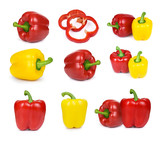 Set of sliced red, yellow bell peppe