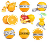 orange fruit and tape measure