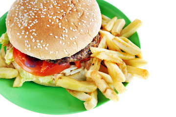Hamburger with French fries in the plate