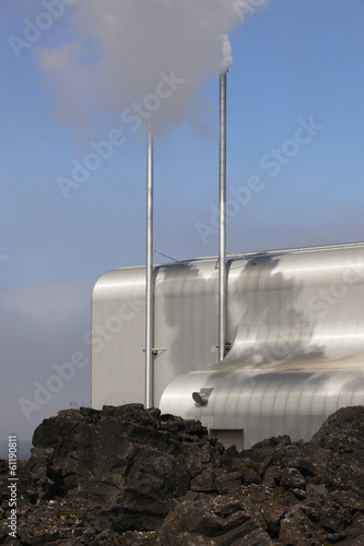 Iceland. Reykjanes Peninsula. Geothermal Plant and volcanic rock