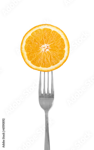 Orange slice on a fork