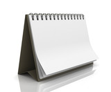 Blank paper desk spiral calendar with reflection