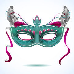 Red carnival mask with feathers