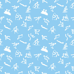 seamless pattern with winter sports icons