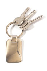Keys with metal tag isolated on white