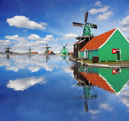 Windmills with canal in Zaanse Schans, Holland