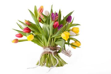 frisch gebunder Strauß Tulpen, isoliert