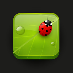 Fresh green app icon with ladybug