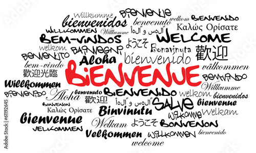 Message de Bienvenue international nuage de mots illustration
