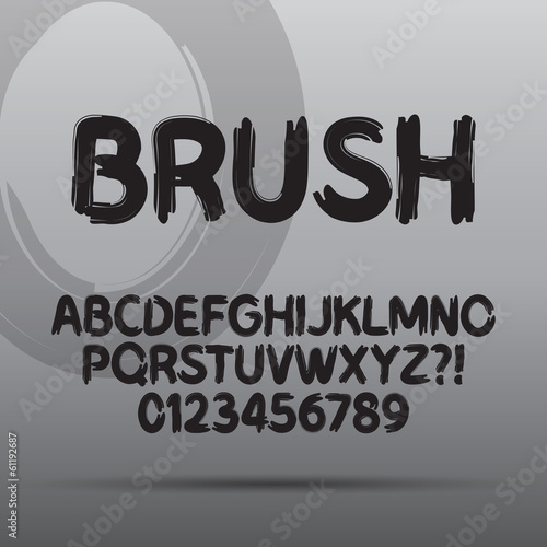 Paint Brush Font and Numbers, Eps 10 Vector Editable