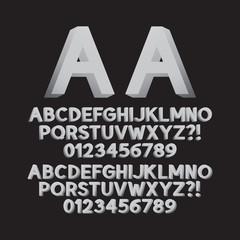 Up Left and Right Isometric Font and Numbers, Eps 10 Vector