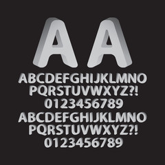Down Left and Right Rounded Isometric Font and Numbers, Eps 10 V