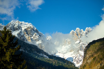 Dolomites in winter landscape