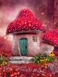 Zaczarowany różowy domek z grzyba - 61193088