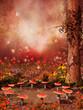 Krąg muchomorów w kolorowym lesie