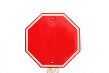 empty traffic stop sign on  white background