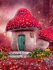 Zaczarowany różowy domek z grzyba